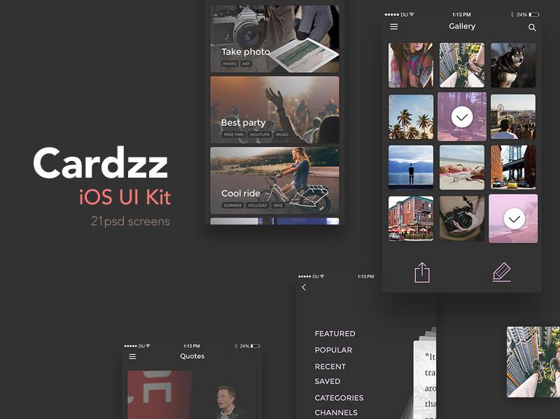 Dark IOS UI Kit Free PSD