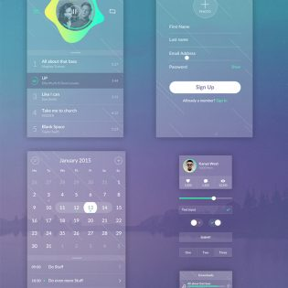 Transparent UI Kit Free PSD