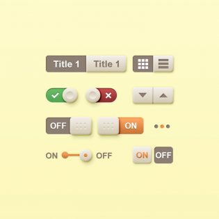 Toggle Buttons Set Free PSD