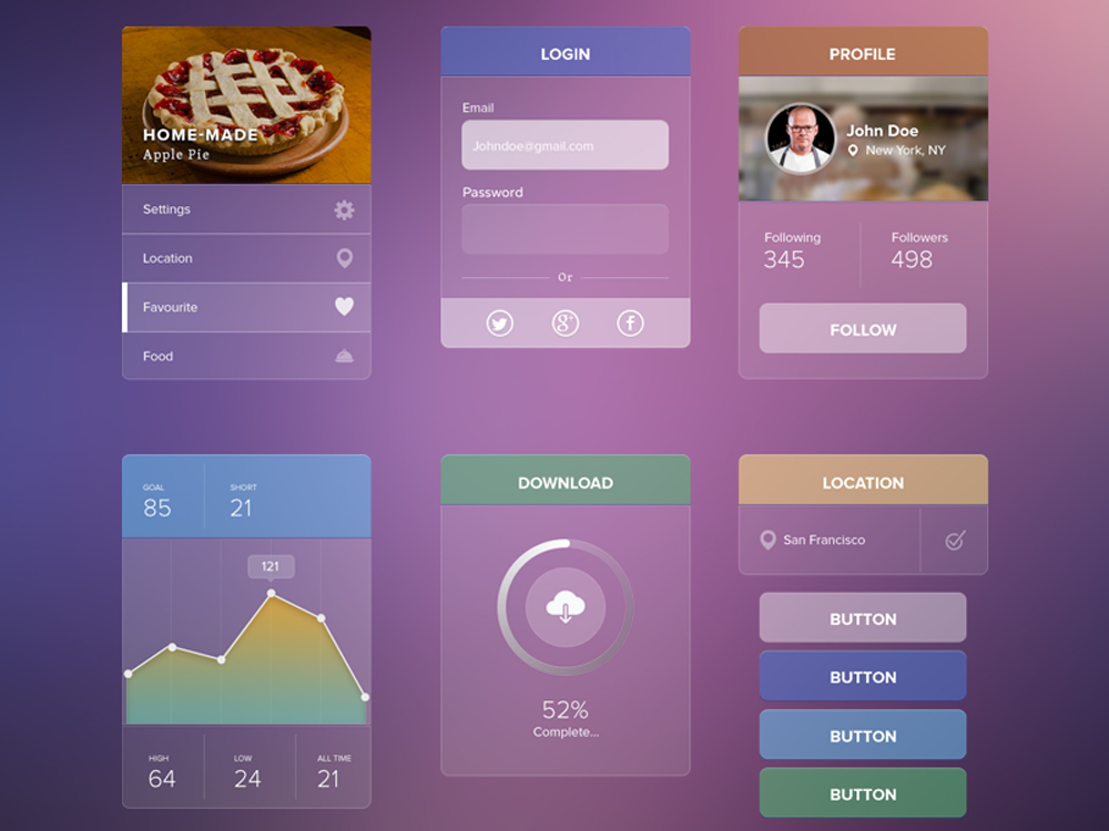Fusturistic Transparent UI kit Free PSD