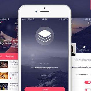 Clean and Modern iOS UI Kit Free PSD