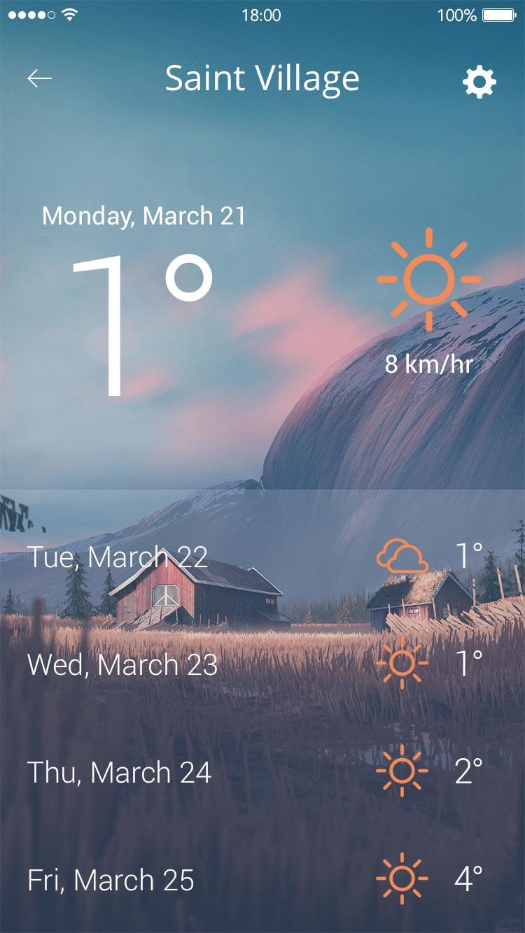 Weather App UI Free PSD