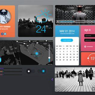 Flat Style Simple UI Elements Kit Free PSD