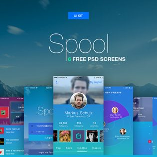 Music and Social Mobile App UI Kit Free PSD