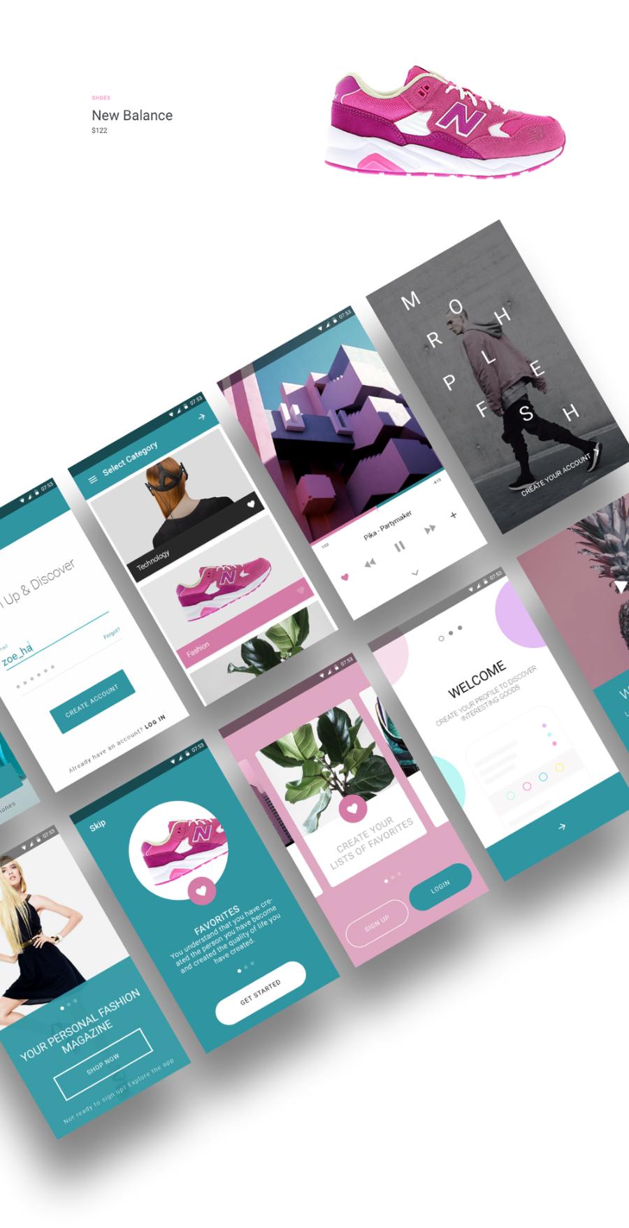 Modern Fashion App Material UI Kit Free PSD