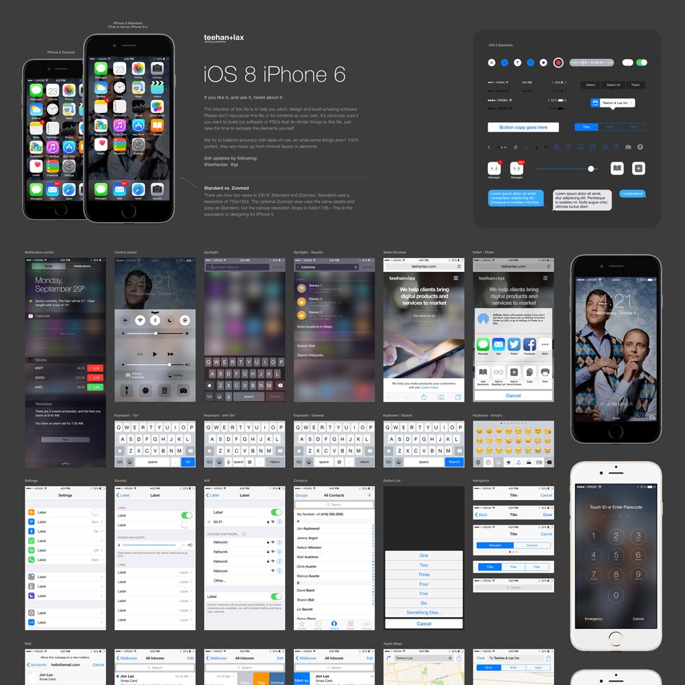 IOS 8 GUI Element Kit Free PSD