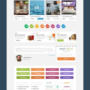 Colorful eCommerce Online Store UI Kit Free PSD