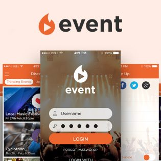 Event Mobile App UI Kit Free PSD
