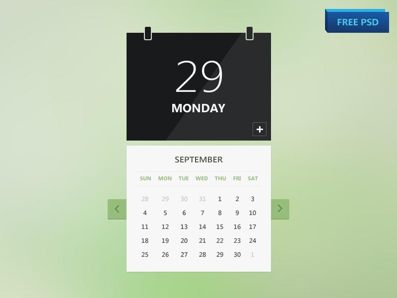 Flat style Calendar UI Design Free PSD