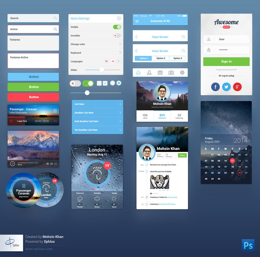Premium Mobile UI Kit Free PSD