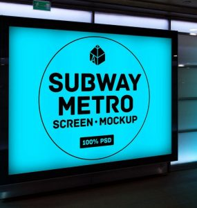 Subway Metro Screen Mockup Free PSD Subway Showcase Screen PSD Mockups psd mockup psd freebie presentation photorealistic mockup template mockup psd Mockup mock-up metro Free PSD free mockup download mockup Download branding