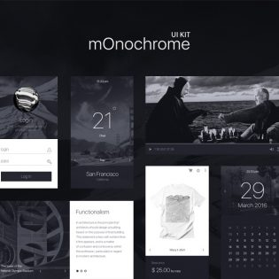 Black and White UI Kit Free PSD