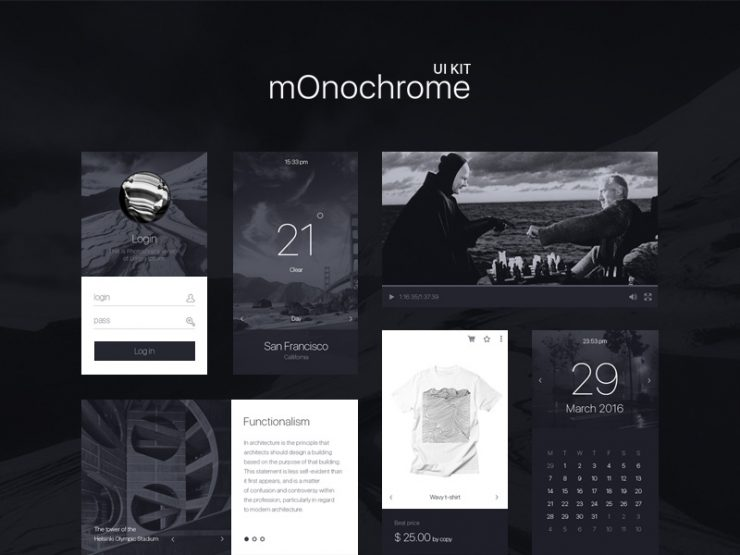 Black and White UI Kit Free PSD Web Resources, Web Elements, Web Design Elements, Web, weather, User Interface, ui set, Ui Kits, ui kit, UI elements, UI, Simple, Resources, Psd Templates, PSD Sources, psd resources, PSD images, psd free download, psd free, PSD file, psd download, PSD, Photoshop, Monochrome UI Kit, monochrome, Login, Layered PSDs, Layered PSD, Interface, GUI Set, GUI kit, GUI, Graphics, Graphical User Interface, Freebies, free ui kits, Free Resources, Free PSD, free download, Free, Elements, download psd, download free psd, Download, Design Resources, Design Elements, Calendar, black and white, Black, B/W, Adobe Photoshop,