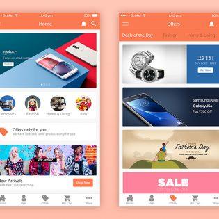 Ecommerce App UI Designs Free PSD