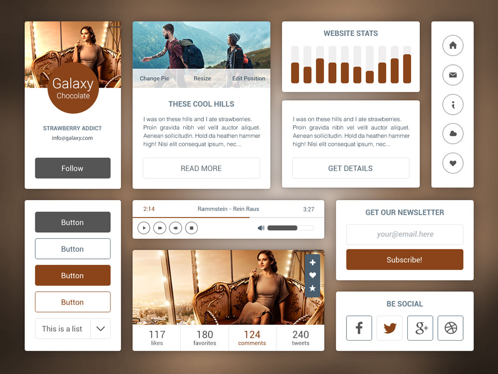 Brown Flat UI Kit Free PSD