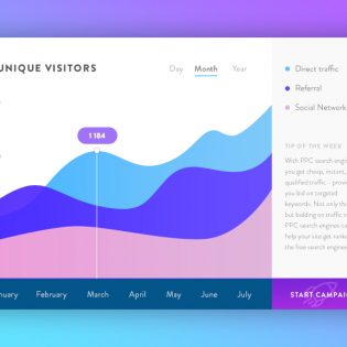 Website Traffic Graph UI Free PSD