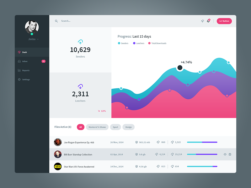 File Management Dashboard UI Template Free PSD