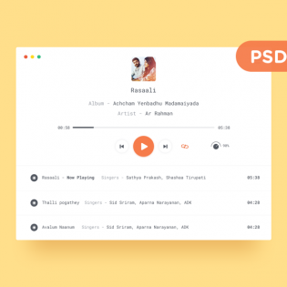 Clean Mp3 Player Design UI Free PSD