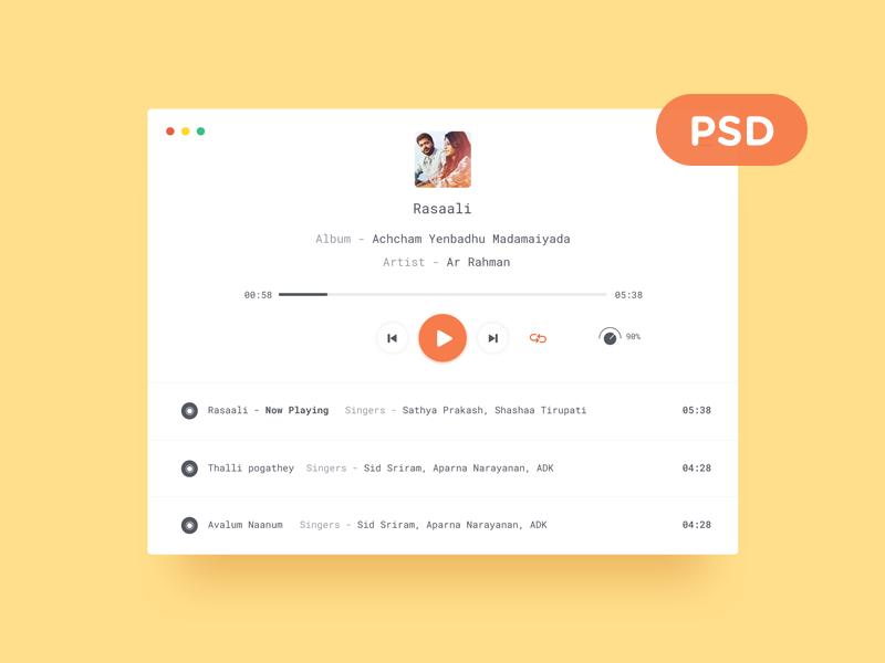 Clean Mp3 Player Design UI Free PSD