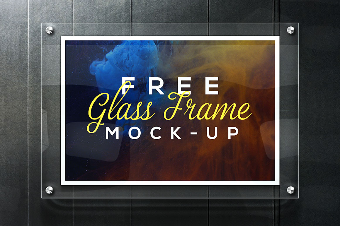 realistic glass frame mockup free psd download download psd. Black Bedroom Furniture Sets. Home Design Ideas