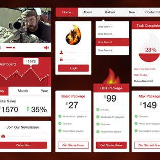 Red Web UI Kit Free PSD