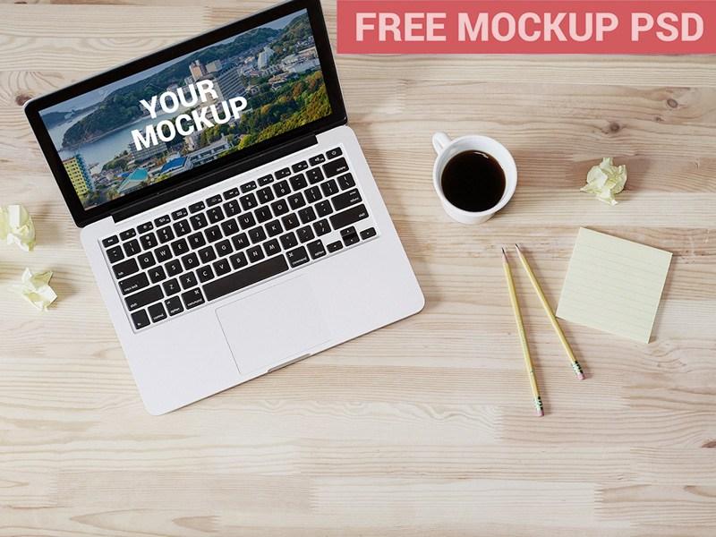 MacBook Top View Mockup Free PSD