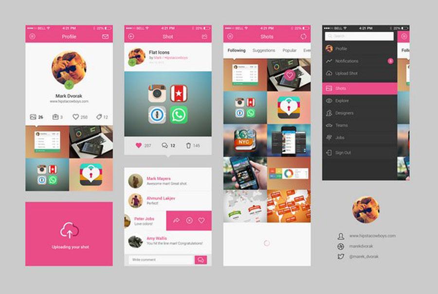 Dribbble Mobile App UI Kit Free PSD