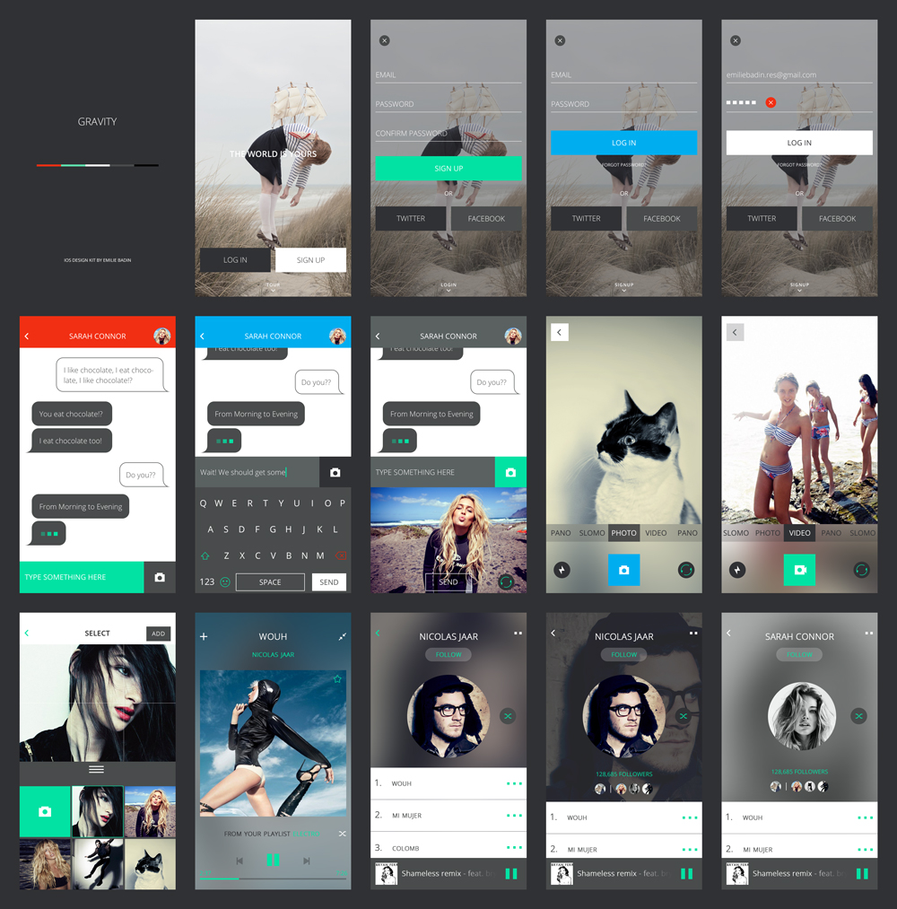 Mobile Application Screens UI Kit Free PSD
