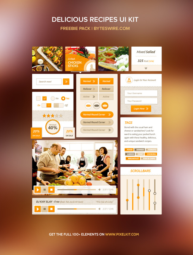 Food Recipes UI Kit Free PSD