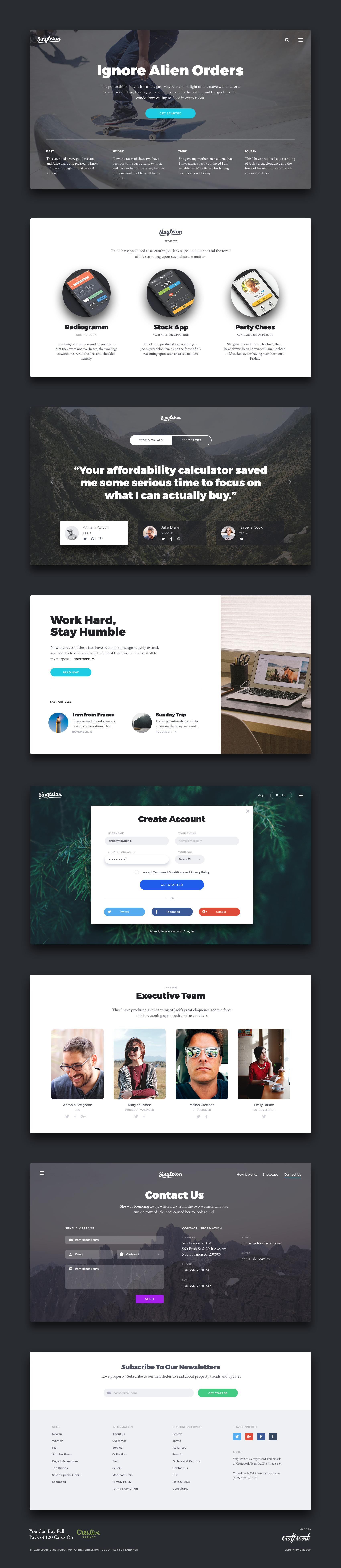 Website Landing Page UI Kit Free PSD