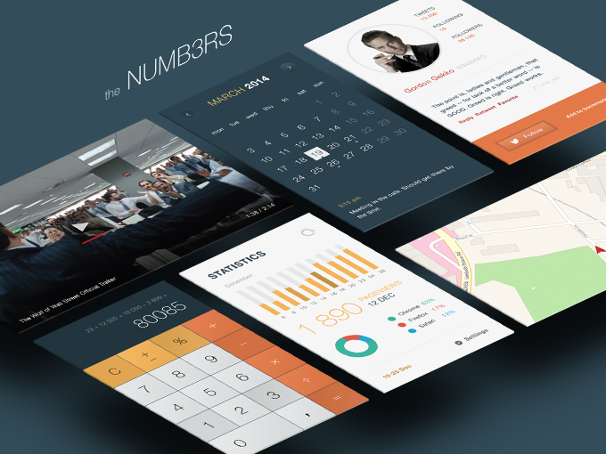 Charts Graphs UI Design Kit Free PSD