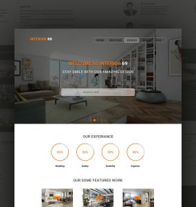 One Page Interior Design Website Template PSD