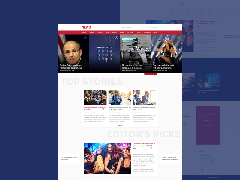 News and magazine style website template psd download for News site template free download