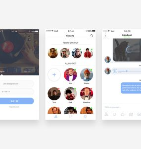 iOS Chat Application Screen UI Free PSD