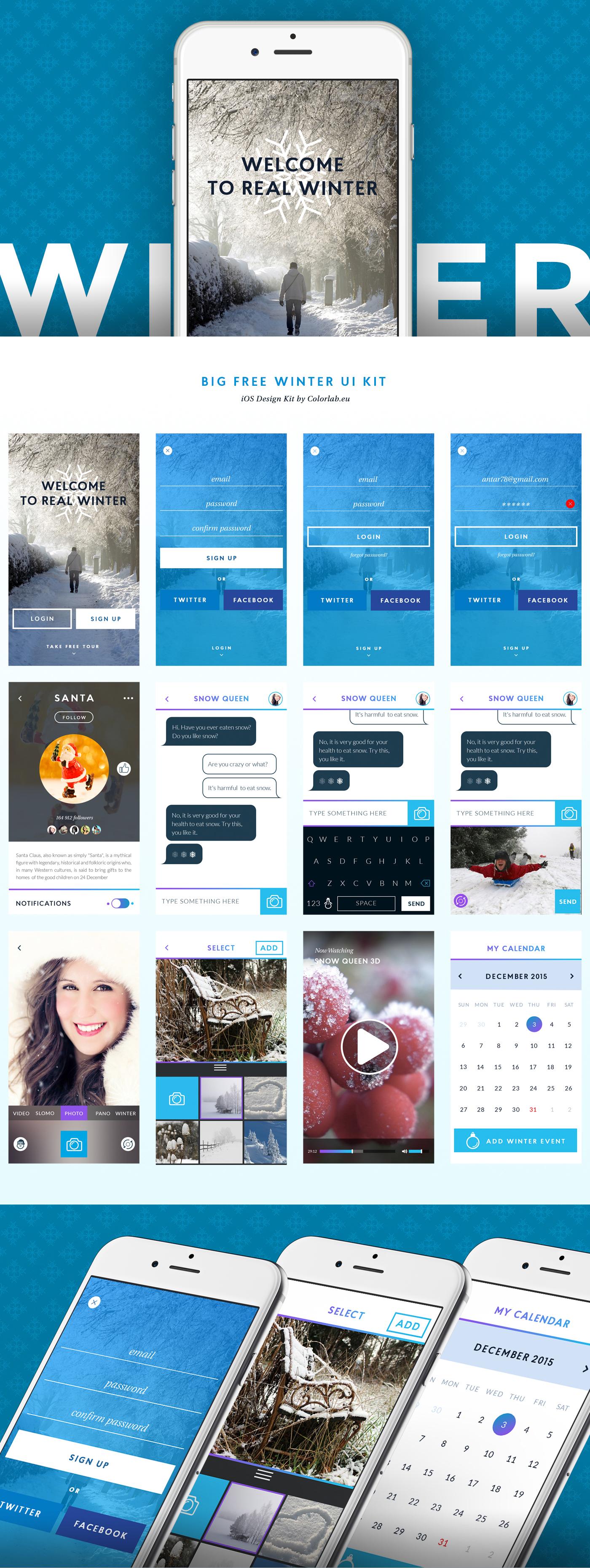 Winter App User Interface Kit Free PSD