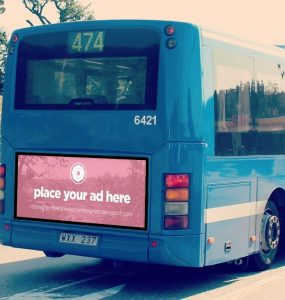 Bus Advertising billboard Mockup Free PSD