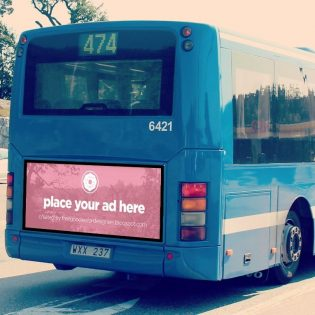 Bus Advertising billboard Mockup Free PSD