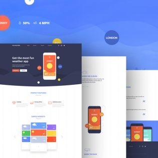Weather Application Landing Page Template Free PSD