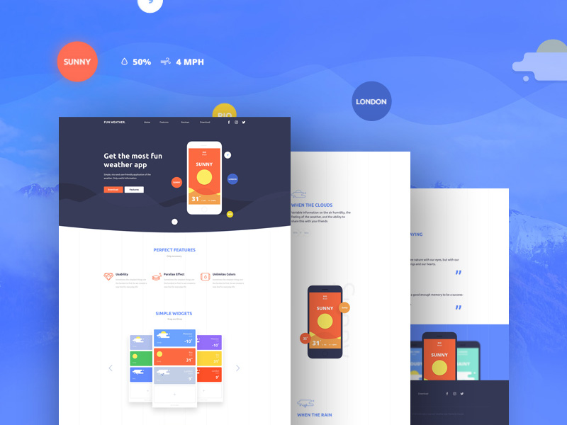 Weather Application Landing Page Template Free PSD Download ...