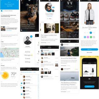 iOS App Screens UI Kit Free PSD