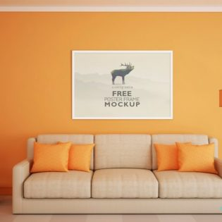 Beautiful Poster Frame Mockup Free PSD