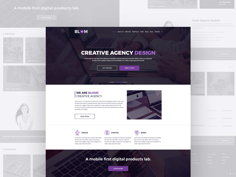 Creative Agency Full Web Templates Free PSD Download - Download PSD