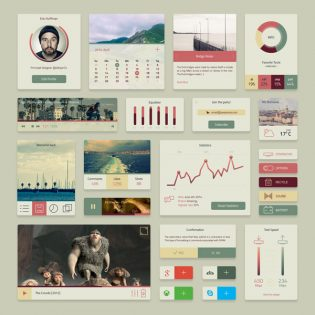 Widget elements UI Kit Free PSD