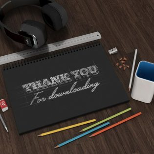Stationary Visual Diary Mockup Free PSD