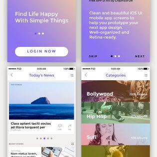 Mobile App UI Kit Pack Free PSD