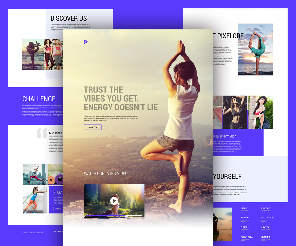 Yoga and Fitness Center Website template Free PSD Download ...