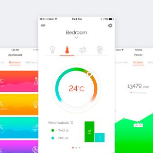 Smart Home App Dashboard UI Free PSD