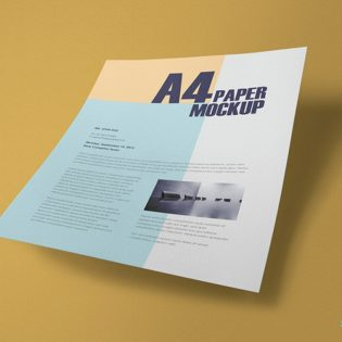 Flying A4 Paper Mockup Free PSD