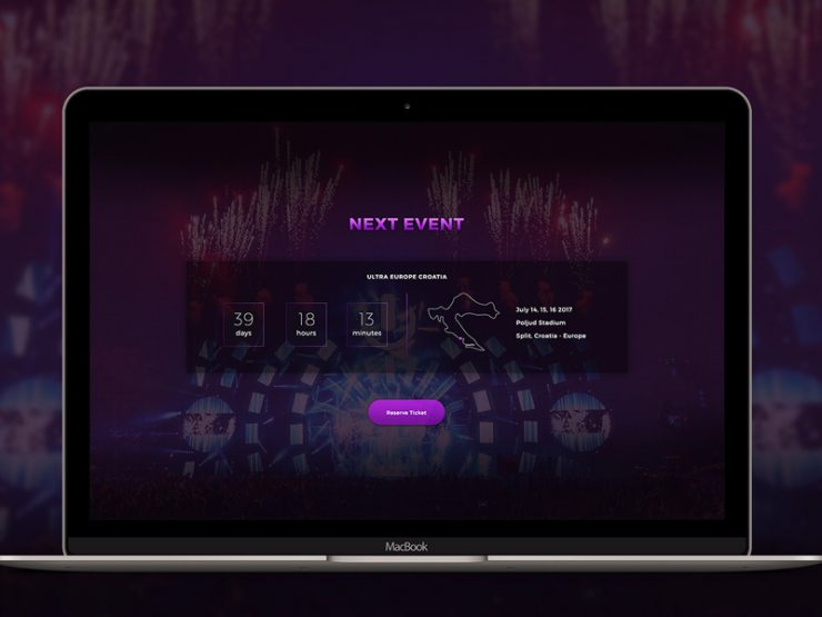 Event Countdown Web Template Free PSD