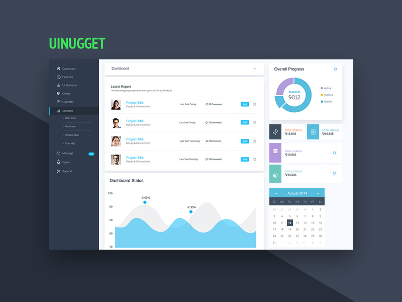 Website Dashboard UI Design Template Free PSD